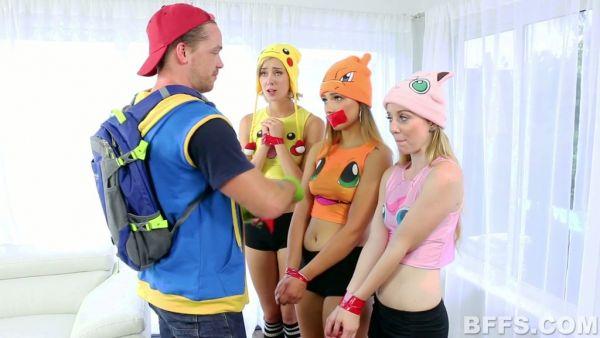 Poke-entrenador capturas tres petite a entrenar con su sólida polla