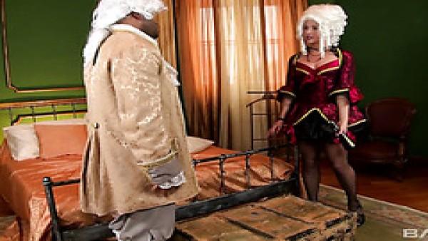 Del siglo 18 con bella dama siendo aplastada por un sirviente negro
