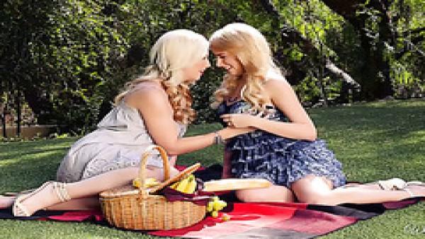 Dos magníficas bellezas rubias disfrutan del sexo lésbico en un picnic